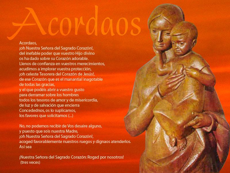Oración del Acordaos. Nuestra Señora del Sagrado Corazón. MSC