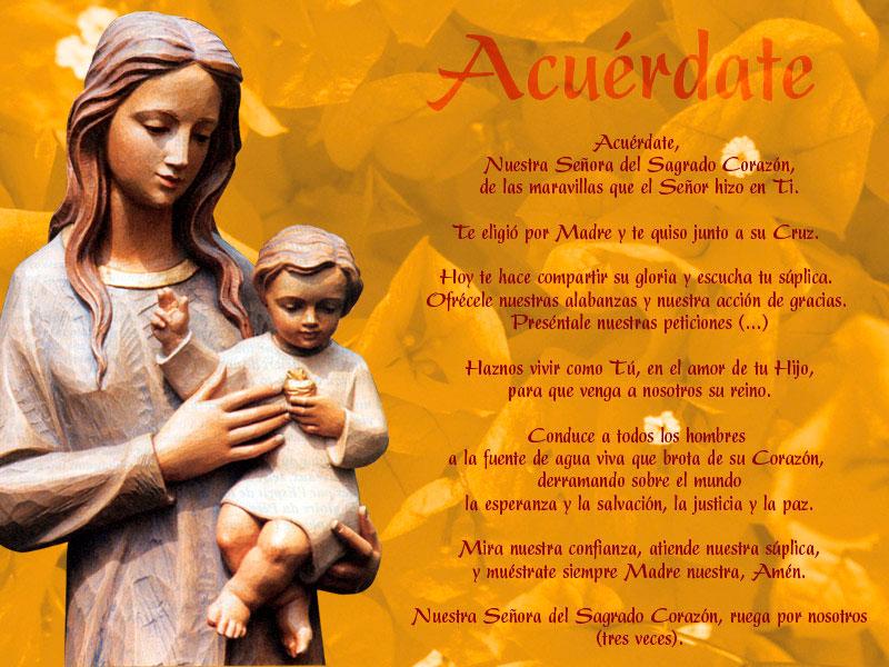 Oración del Acuérdate. Nuestra Señora del Sagrado Corazón. MSC