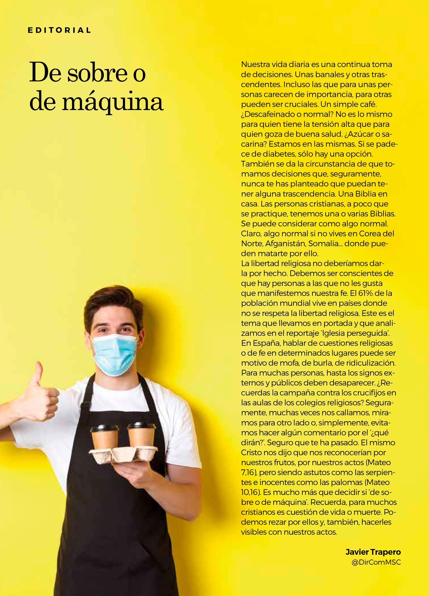 Editorial Revista Madre y Maestra. Abril 2021. Misioneros del Sagrado Corazón MSC. Javier Trapero
