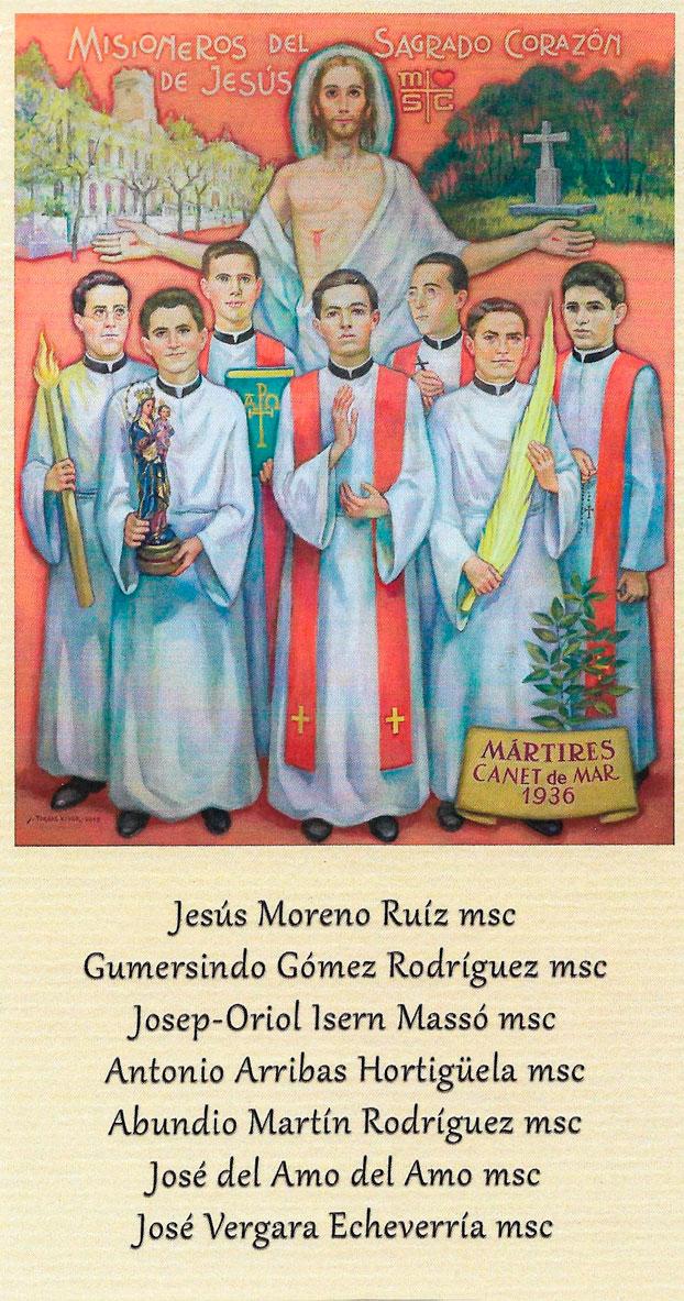 Beatos Mártires Canet de Mar Misioneros Sagrado Corazón. MSC